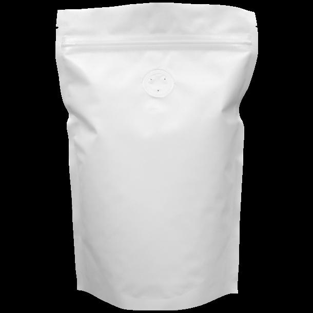 250 G POSE TIL RISTET KAFFE (mat hvid m/ 1-vejsventil)
