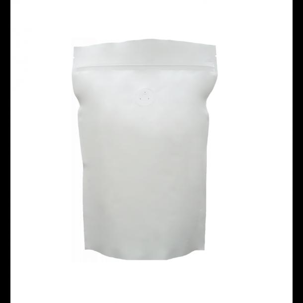 500 G POSE TIL RISTET KAFFE (mat hvid m/ 1-vejsventil)