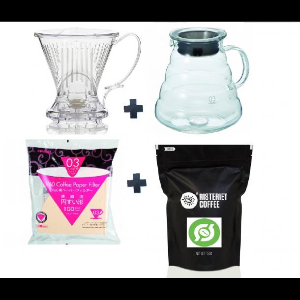 CleverCoffeeKit (Clever Coffee Dripper + Hario 800ml Range + Hario 03 filtre 100stk + 250 gram Peru)